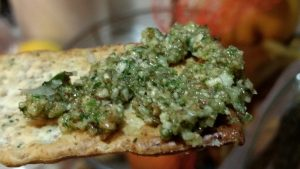 image of pesto on cracker